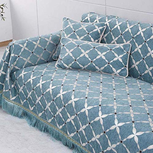 KKDIY Funda de sofá de un Solo Asiento Bordado Jacquard Chenilla Sofá Toalla Funda Antideslizante Reposabrazos Respaldo Fundas de sofá para Sala de Estar-como Imagen, 190x200cm