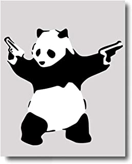 iFine Art ' Banksy Panda with Guns ' Wall Art Framed Oil Paintings Printed on Canvas for Home Decorations Home Decor Modern Artwork Hanging for Living Room Bedroom, Ready to Hang