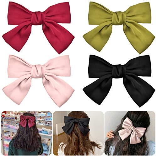 Große Haarschleifen Clip 4 Stück Bowknot Haarspangen Haarklammern mit Schleifen aus Ripsband Haarschleife Accessoire für Mädchen Kinder - Rot, Schwarz, Pink, Gelbgrün