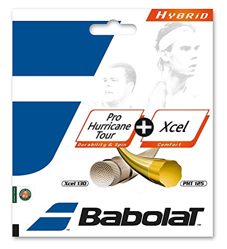 Babolat Pro Hurricane Tour 17G + Xcel 16G Hybrid (Poly/Multifilament Combo) Tennis Racquet String Sets 2-Pack (2 Sets Per Order) - Best for Comfort, Control, and Durability