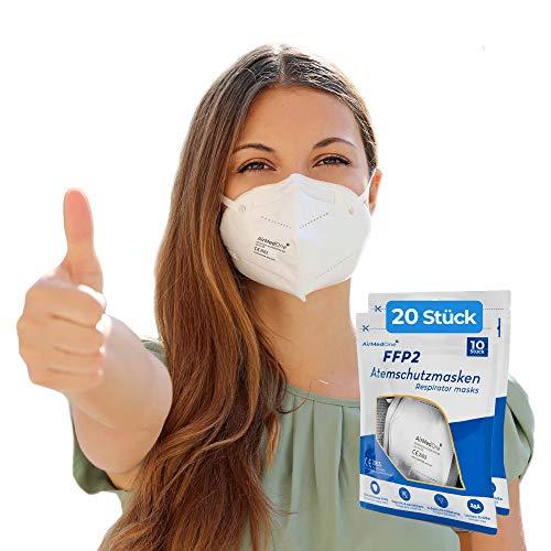 NEU: FFP2 Atemschutzmaske mit offiziellem Zertifikat CE2163, Mundschutz Maske 5-lagig [20 Stück] 3D Gesichtsmaske faltbar
