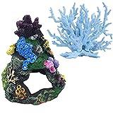 LAVECAR Coral Acuario Decoración Peces Resina Rockery con Agujero Paseo Decoraciones de Acuario Ornamentos Acuario Paisajismo Accesorios para Acuario Acuario