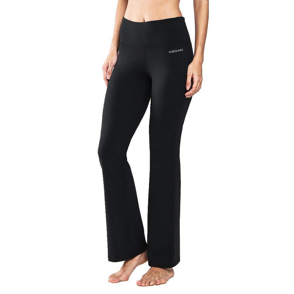 Femme Pantalon de Yoga Taille Haute en Coton avec Poches Bootcut Pantalon de Sport Pilate Causal