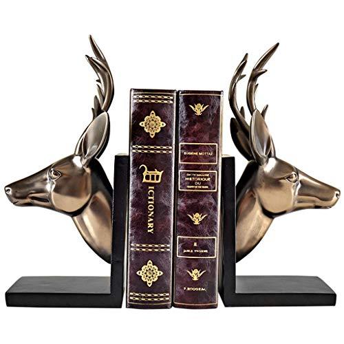 LICHUAN Sujetalibros con cabeza de ciervo dorada, para escritorio, decoración de libros, para estantes, escultura artística, soporte para libros, soporte para libros en el hogar