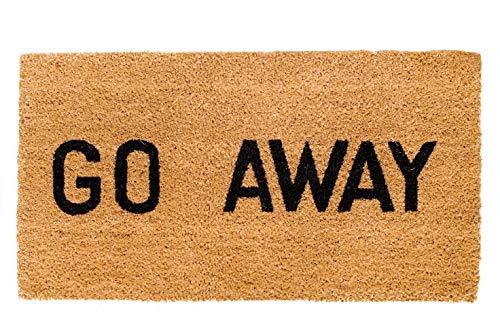 Theodore Magnus Natural Coir Doormat with Non-Slip Backing - 17 x 30 - Outdoor / Indoor - Natural - Go Away - COIR-1730-15-203