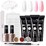 Candy Lover Poly Nail Gel Kit,Peach Pink Purple Brown Nail Extension Gel Kit Nail Enhancement Builder Gel Kit with 4 Popular Luxurious Colors - Quick Starter Soak Off UV LED Set Tubes in Gift Box
