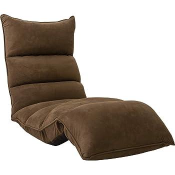 アイリスプラザ リクライニング座椅子 低反発 折りたたみ収納 ダークブラウン 背もたれ高さ16~69×長さ約109~166×厚さ約16cm YCK-001