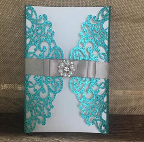 Piero Trouwkaart glitterpapier personaliseer uitnodigingen voor bruiloft en bedrijf, glitter groen, standaard formaat