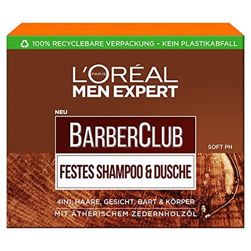L'Oréal Men Expert Festes Shampoo für Männer, XL-Seifenstück zur Reinigung von Körper, Haar & Bart, Mit pflegendem Zedernholzölkomplex, Barber Club, 1 x 80 g