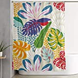 LongTrade Duschvorhang Apricot Tropical Leaf Flowers Decoration Ornament for Bathroom Shower Curtain Shower Room Home Print Pattern Set 60x72 inch