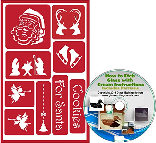 Santa & Christmas Holiday Reusable Stencils: Adhesive Stencils of Reindeer with Heart Shape, Ice Skates, Angels, Nativity Scene & Cookies + How to Etch CD