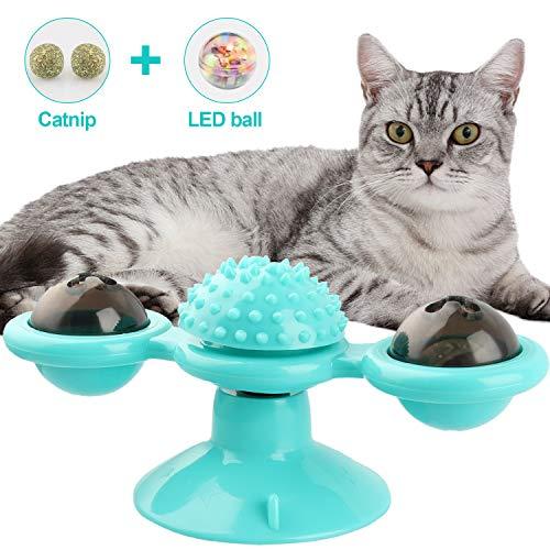NOBRANDED Windmühle Katzenspielzeug, Spielzeug mit Katzenminze, Plattenspieler Katzenspielzeug Necken Haustier Spielzeug Kratzen Tickle Cats Haarbürste Katze Interactive Spielzeug mit Saugnapf (Blau)