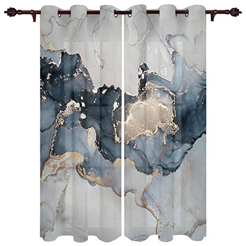 Home Decor Window Curtains - Window Treatment Set with Silver Grommet Marble Gold Blue Grey, Window Covering for Kitchen Cafe Living Room Abstract Ink Painting
