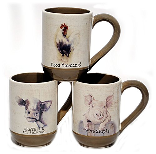 Young s Ceramic Farmhouse Coffee Mugs (Pig  Cow & Rooster) - Set of 3