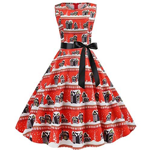 Floweworld Ladies 50s Vintage Party Kleider Weihnachten Santa Claus Bedruckte Kleider mit Gürtel Weihnachten Plissee Swing Abendkleider