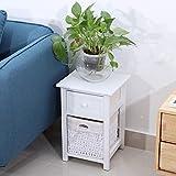 Emoshayoga 27.5x31x45.5cm 2pcs / Set Table de Nuit écologique en Bois pour Une Utilisation dans Une variété de paramètres(White)