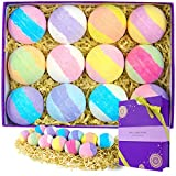 Bath Bombs Gift Set, Spa Luxetique 12 Pcs Natural Bath Bombs, Handmade Bubble Bath Bomb, Bath Fizzies Rich in Shea Butter, Coconut Oil, Spa Fizzies Moisturize Dry Skin, Best Gift Set for Women.