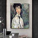 Arte de la pared 70x90 cm figura abstracta famosa sin marco con los ojos cerrados impresión del cartel femenino imagen del arte de la pared para la decoración de la pared de la sala de estar