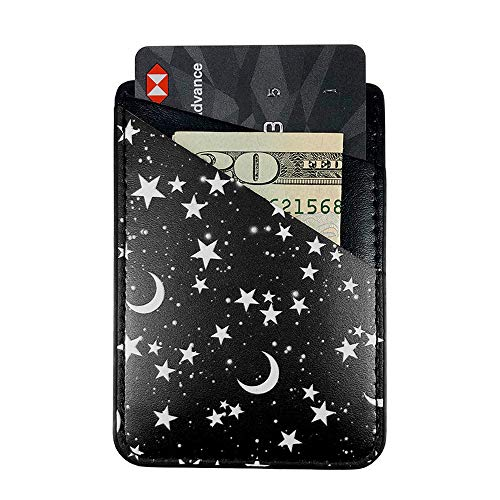Black Stars Moon Adhesive Cell Phone Credit Card Stick On Wallet Holder Phone Pocket Pouch Sleeves for iPhone,Samsung Android and All Smartphones