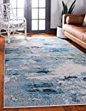 Unique Loom Chromatic Collection Abstract Modern Light Blue Area Rug (8' 0 x 10' 0)