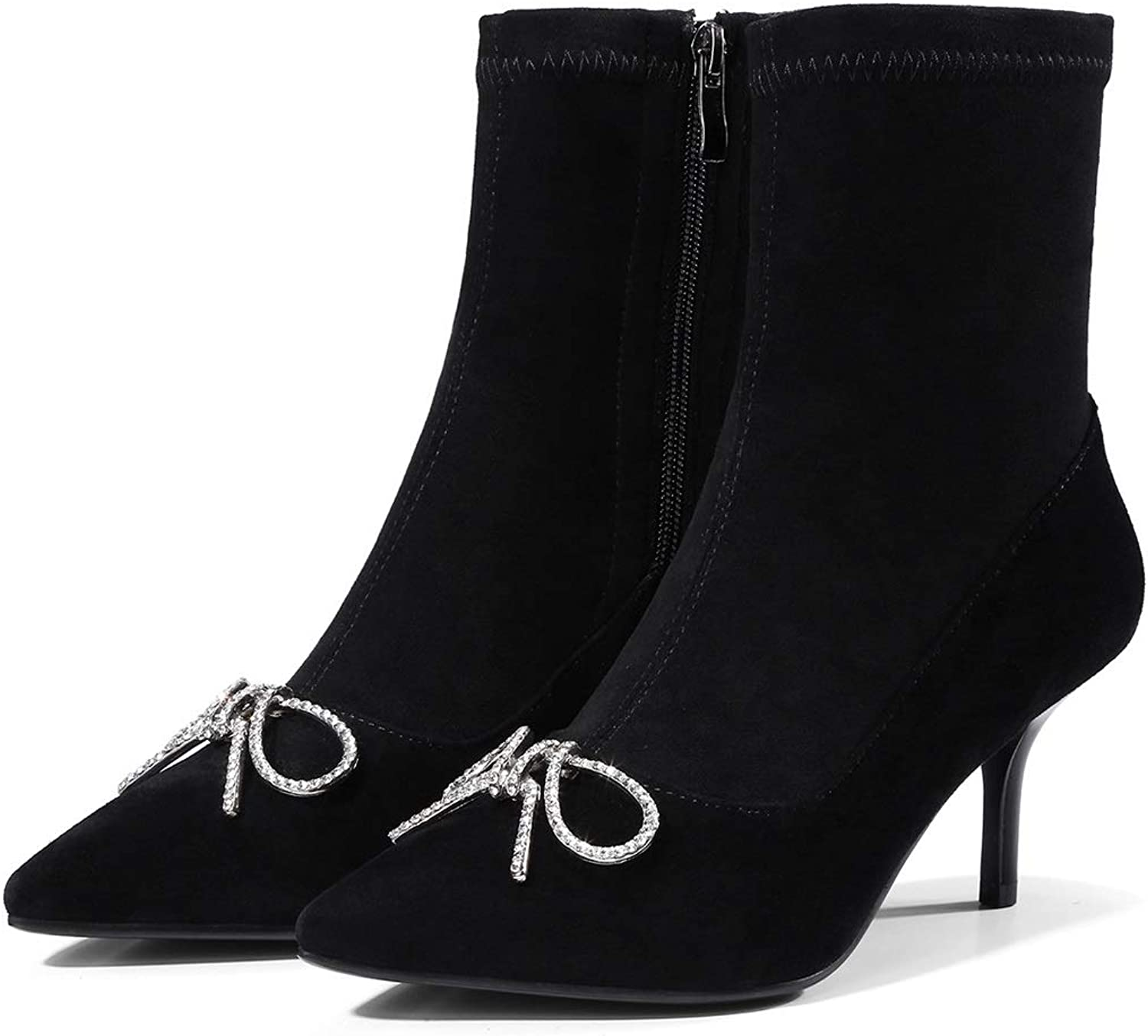 Ladies Booties, Leather Shining Rhinestone Butterfly Knot Pointed Fashion Boots Women's Stiletto Heel Low Tube Ankle Boots Martin Boots (color   Black, Size   34)