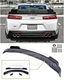 Replacement for 2016-Present Chevrolet Camaro All Models | 1LE Extended Track Style ABS Plastic Primer Black Add On Rear Trunk Lid Wing with Aluminum Glossy Black & Clear Center WickerBill Spoiler