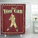 None brand Red Sport Vintage Baseball Text Ja, Sie KöNnen Metall Duschvorhang Polyester Set Mit Haken-B150xh180cm