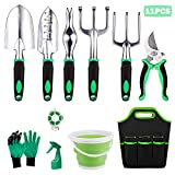 Ulike Garden Tool Set, Heavy Duty Gardening Tools Kits 11 Pieces, with Garden Gloves & Garden Handbag and More, Gardening Gifts for Woman