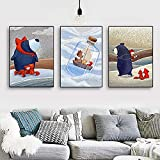 ganlanshu Animal Lindo nórdico Invierno tormenta de Nieve Dibujos Animados Paisaje Pintura Pintura de la Pared decoración del hogar,Pintura sin Marco,40X60cmx3
