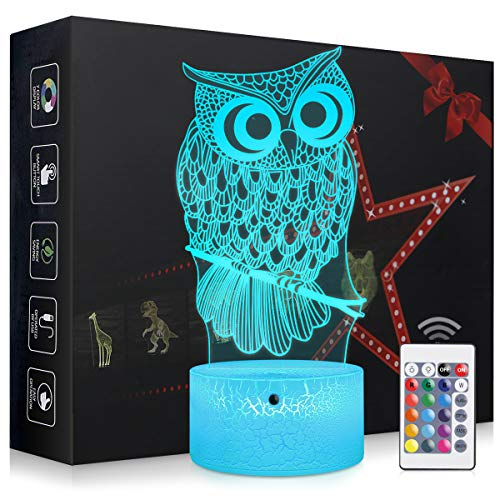 Elstey Owl Night Light,3D Kids Bedside Lamps,Frame Table Lamp,Eye See Lamps,Touch&Remote Control,16 Colors+7 Colors Changing Illusion Nightlight,Birthday Gifts for Girls Boys