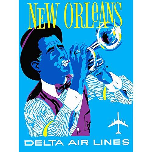 Bumblebeaver Vintage Travel America AIR Line New Orleans Jazz Fine Art Print Poster Ancien Voyage Amérique Le Jazz Impression d'art Affiche
