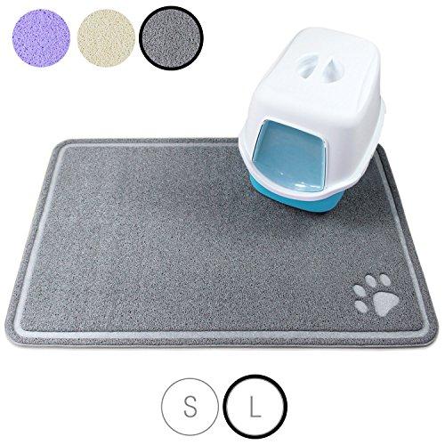 Amazy Bella & Balu Katzenstreu Matte – Rutschfeste und Pflegeleichte Unterlage fürs Katzenklo für eine saubere, aufgeräumte Wohnung (grau | groß – 80 x 120 cm)