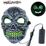 Autbye Unheimlich Schädel-Maske LED leuchtet 4 Modi Beleuchtung EL Draht Skeleton Maskerade Maske zum Cosplay Festival Party Halloween (Type2)