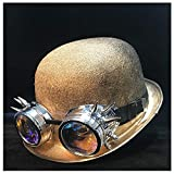 LHZUS Sombreros para mujer y hombre, sombrero steampunk, bowler, gorro para cosplay y parte superior, sombrero de engranaje de Fedora, tamaño 58 cm (color: oro Qhou, tamaño: 58 cm)