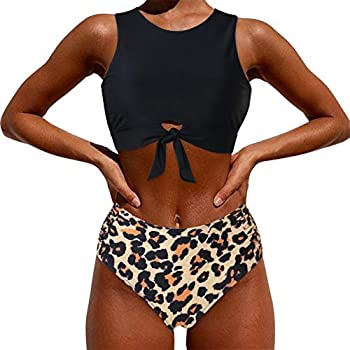 MOOSLOVER Women High Neck Top Knotted Front Tankini Set High Waisted Bathing Suit Small,Leopard