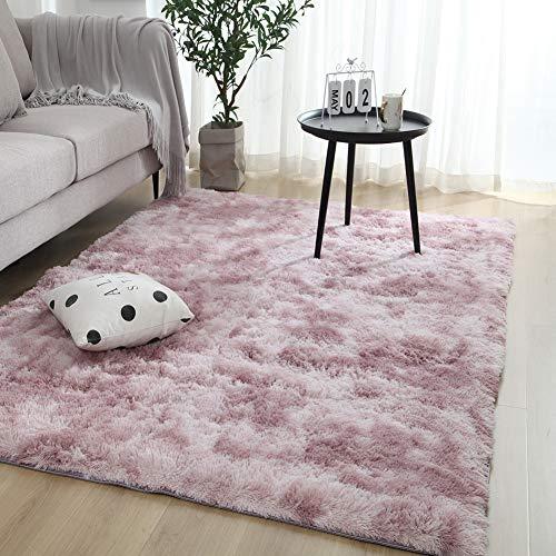 Zwgmu Shaggy Teppich - Hochflor Langflor Teppiche für Wohnzimmer, Esszimmer, Kinderzimmer, Schlafzimmer - versch. Farben u. Größe, Grösse: 160 x 200 cm, Farbe: Rosa