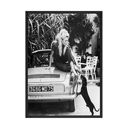 Non-branded HNZK Negro Blanco Famoso Modelo Foto Vintage Poster Arte Pinturas Pared Decoracion FrancéS Moda Poster Lienzo Impresiones Dormitorio Hogar Decoracion Cuadro 50x75cm / Sin Marco