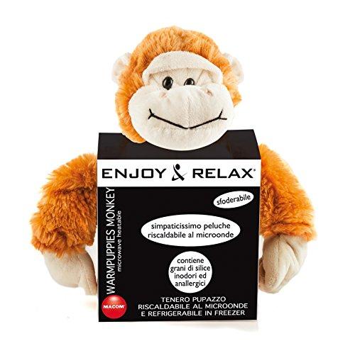 MACOM Enjoy & Relax 925 Warmpuppies Monkey, Pupazzo a forma di Scimmia riscaldabile al microonde e refrigerabile in freezer