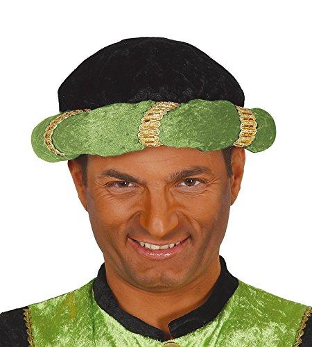 Turbante negro y verde mago rey de disfraz maharajá indio