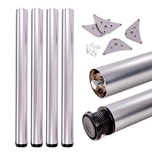 Tischbeine, höhenverstellbar | Sossai® Premium TBAL | Design: Alu | 4 Stück | Montagezubehör inklusive | Höhe: 82 cm (820 mm), einstellbar +2cm