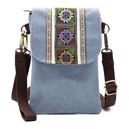 Silkarea Bolsa pequena de lona a tiracolo para mulheres, bolsa de ombro, cartão de crédito, bolsa carteira de pulso (azul claro)