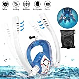 PADRAM Full Face Snorkel Mask with Double Tubes Easybreath Snorkeling Mask with Camera Mount Anti-Fog Anti-Leak 180° Field of View Diving Mask for Adults and Kids (Blue White, S/M)