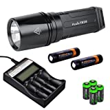 FENIX TK35 XM-L2 U2 900 Lumen Tactical LED Flashlight with 2 X Fenix ARB-L2S 3400mAh 18650 Li-ion rechargeable batteries, Fenix ARE-C2 advanced digital battery charger, 4 X EdisonBright CR123A Lithium batteries, Holster & Lanyard complete bundle
