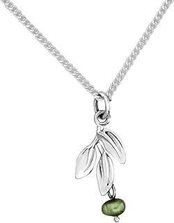 Martha Vargas: Colección Olivos 1 - Dije con cadena de plata ley .925 hojas y perla colgante