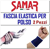FASCIA ELASTICA POLSO 2 Pezzi - POLSIERA - TUTORE SUPPORTO per Sport Tennis Palestra Lavoro Taglia Unica
