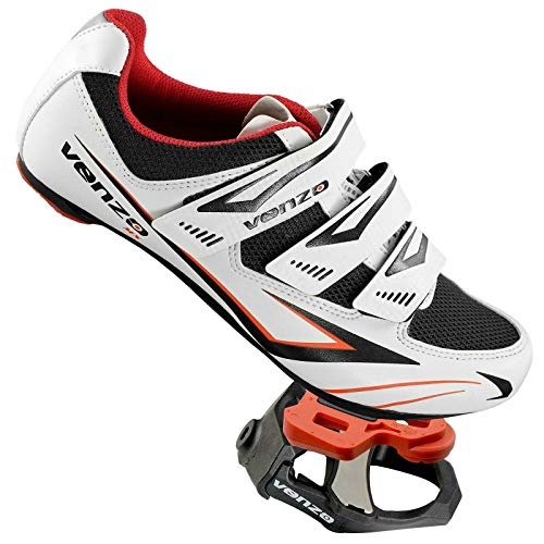 Venzo Cycling Bicycle Road Bike Shoes Look Keo Compatible Pedals & Cleats White Size 44