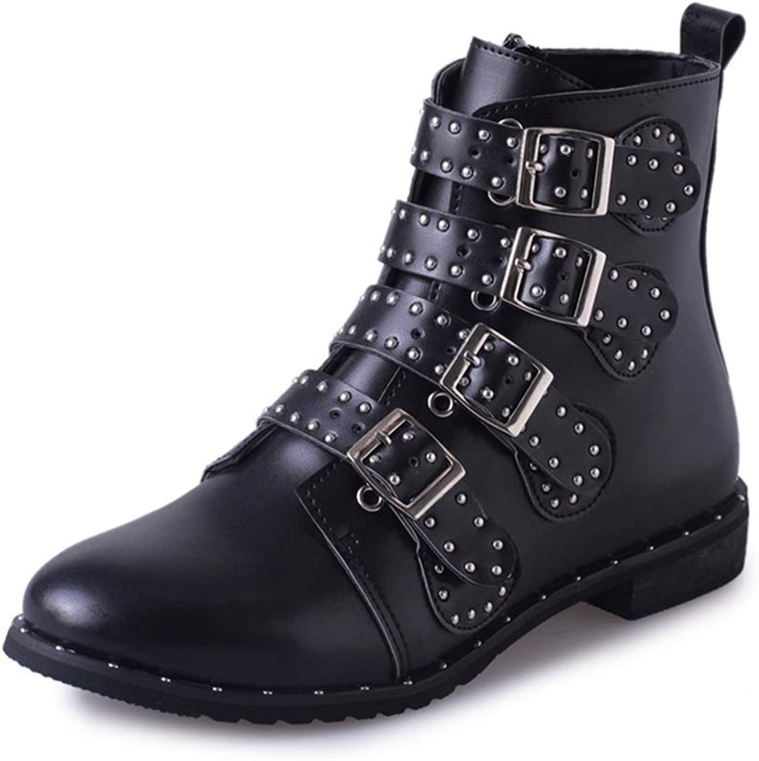 Fashion shoesbox Women's Flat Western Buckle Strappy Ankle Boots Rivets Pointed Toe Zipper Booties Chelsea Short Boots