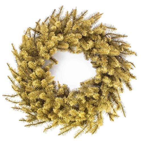 artplants.de Künstlicher Großer Tannenkranz, Gold, Ø 80cm - Kunststoff Weihnachtskranz - Advents Deko Kranz