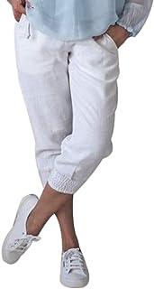Damen Elastisch Capri Zwei Taschen Schnitt Einfarbig 3//4 Damen Hosen Übergröße