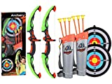 2 Pack Set Kids Archery Bow Arrow Toy Set with Targets, Suction Cup Arrows and...